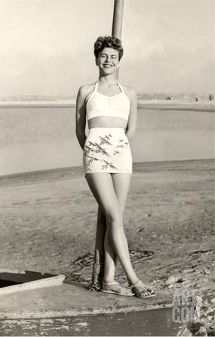 California World War II Bathing Beauty Stretched Canvas Print