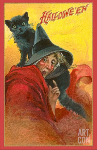 Halloween, Startled Witch and Cat Stretched Canvas Print