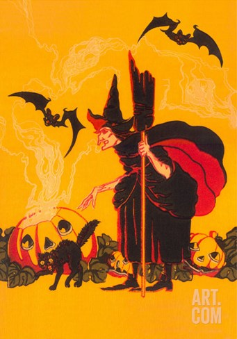 Witch with Goblin Emerging from Pumpkin Stretched Canvas Print