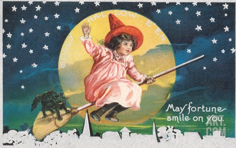May Fortune Smile on You, Halloween, Girl on Broomstick Stretched Canvas Print