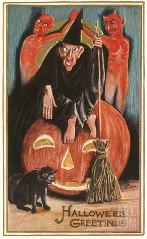 Halloween Greetings, Witch and Jack O'Lantern Stretched Canvas Print