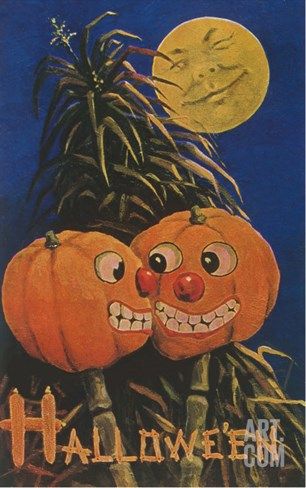Halloween, Jack O'Lanterns with Corn Stalks Stretched Canvas Print