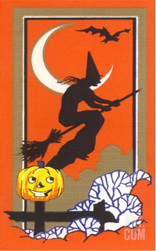 Witch Silhouette with Bat and Jack O'Lantern Stretched Canvas Print