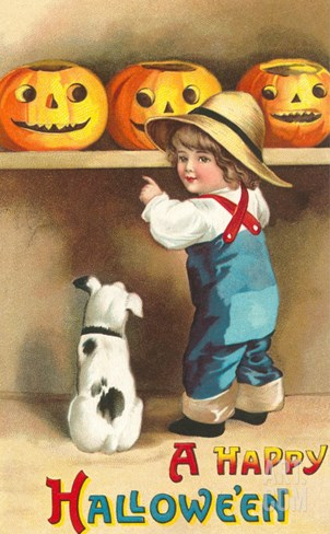 A Happy Halloween, Dog and Boy with Jack O'Lanterns Stretched Canvas Print
