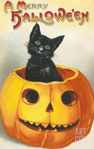 A Merry Halloween, Cat in Jack O'Lantern Stretched Canvas Print