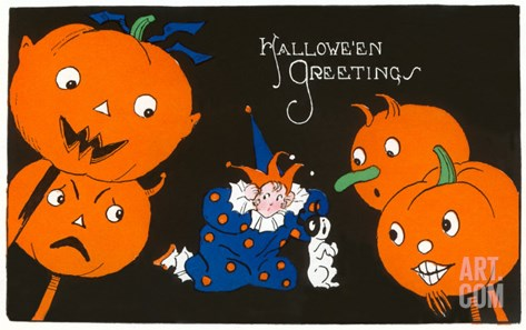 Halloween Greetings, Jack O'Lanterns and Clown Stretched Canvas Print