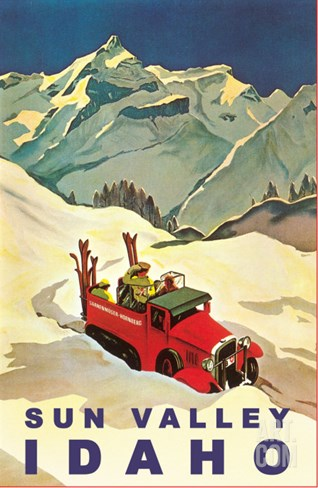 Sun Valley, Idaho, Vintage Truck with Skiers Stretched Canvas Print