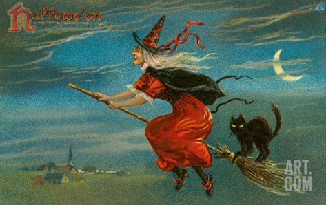 Halloween, Witch and Cat on Broom Stretched Canvas Print