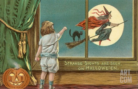 Strange Sights Are Seen on Halloween, Witch from Window Stretched Canvas Print