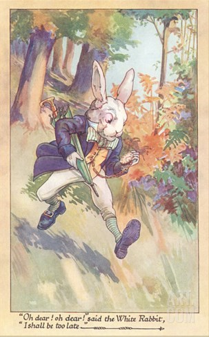 White Rabbit Checking Watch Stretched Canvas Print