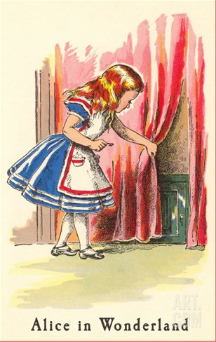 Alice in Wonderland, Alice Finds Door Stretched Canvas Print