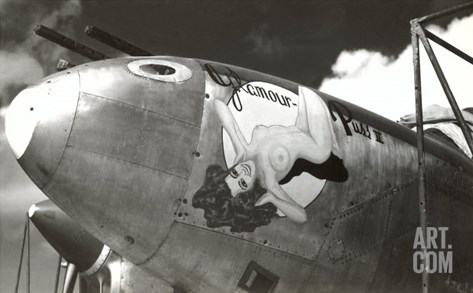 Nose Art, Glamour Puss, Pin-up Stretched Canvas Print