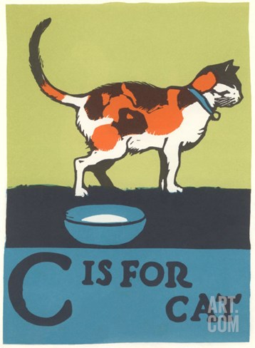 C is for Cat Stretched Canvas Print