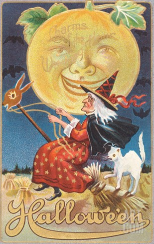 Halloween, Witch and Moon Stretched Canvas Print