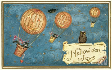 Jack O'Lantern Balloons Stretched Canvas Print