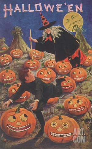 Boy Fleeing Witch and Leering Pumpkins Stretched Canvas Print