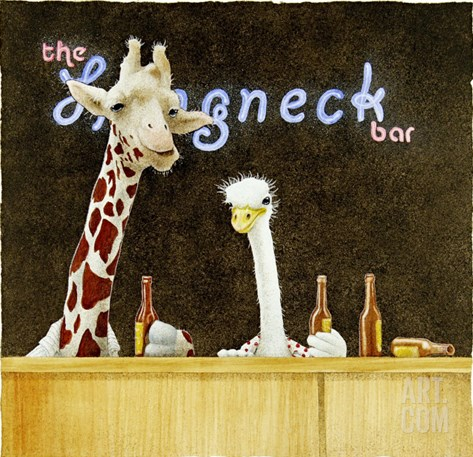Couple of Longnecks Stretched Canvas Print