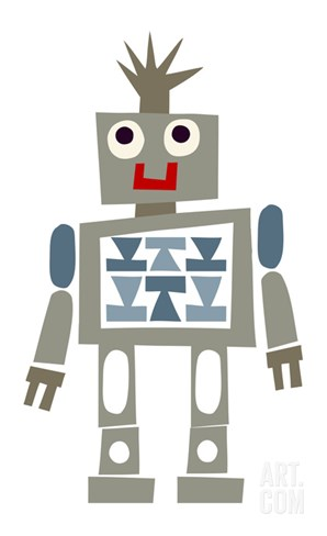 Cute Robot Smiling Stretched Canvas Print