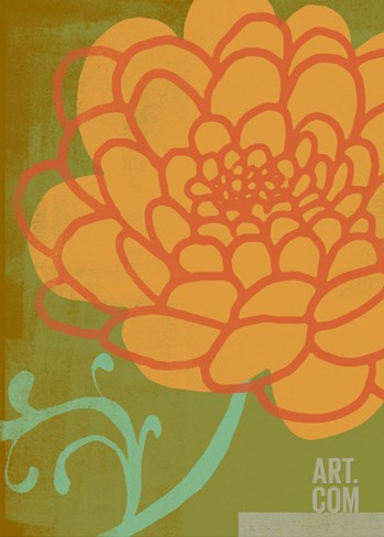 Orange Flower with Green Background Stretched Canvas Print