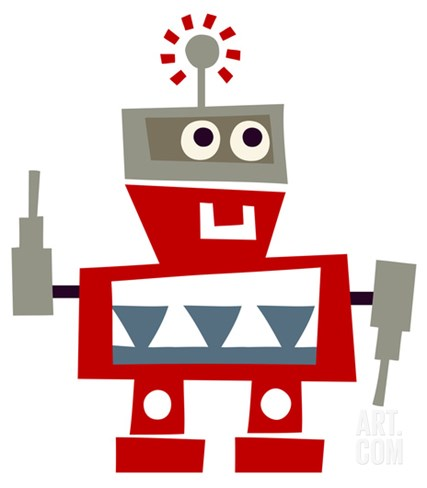 Red Robot with Smile Stretched Canvas Print