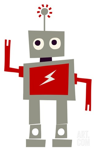 Robot with Red Lightning Stretched Canvas Print