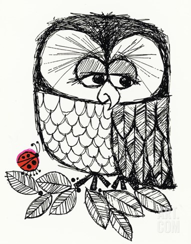 Retro Black and White Owl with Ladybug Stretched Canvas Print