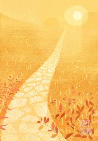 Golden Path in Sunlight Stretched Canvas Print