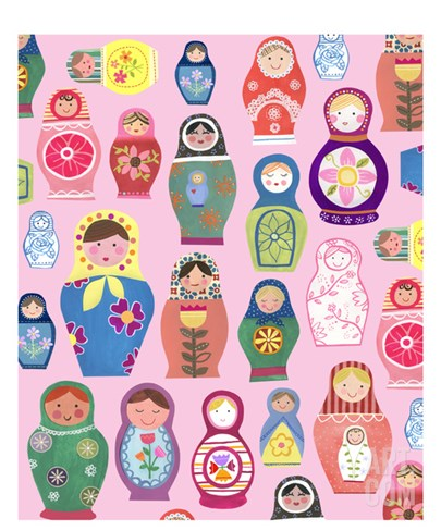 Happy Nesting Dolls Stretched Canvas Print