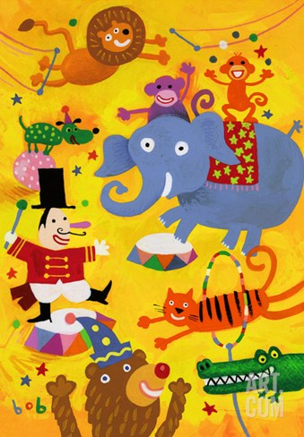 Crazy Circus Characters Stretched Canvas Print