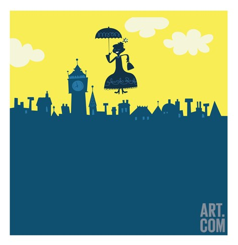Mary Poppins in Sky Stretched Canvas Print