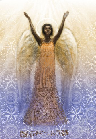 Angel with Arms Raised Stretched Canvas Print