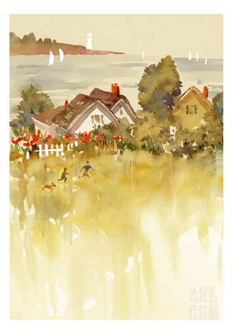 Coastal Houses Stretched Canvas Print