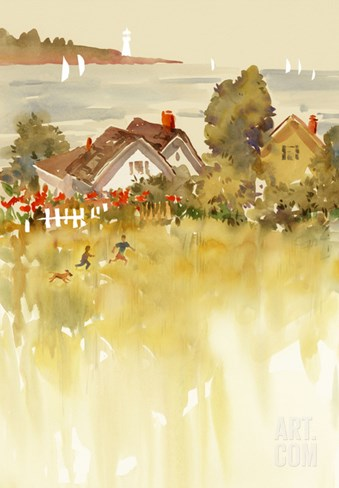 Coastal Houses Stretched Canvas Print
