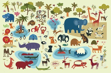 Zoo Animals Stretched Canvas Print