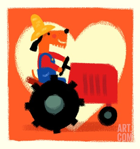 Farmer Dog with Tractor Stretched Canvas Print