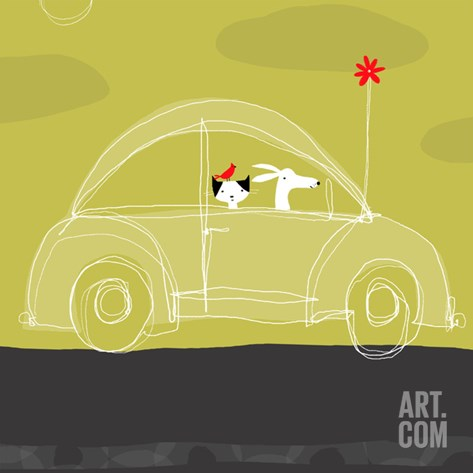 Dog, Cat, Bird in Car Stretched Canvas Print