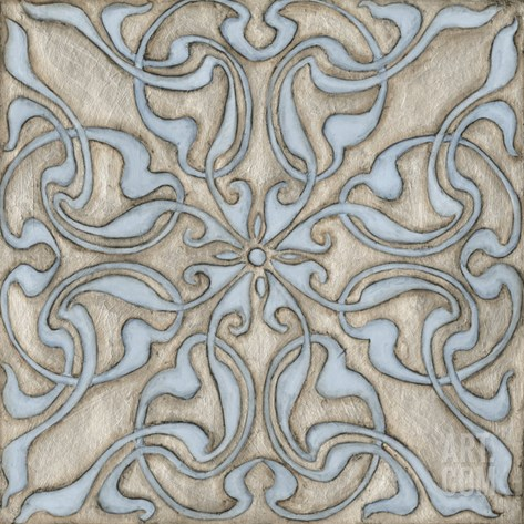 Silver Filigree V Stretched Canvas Print