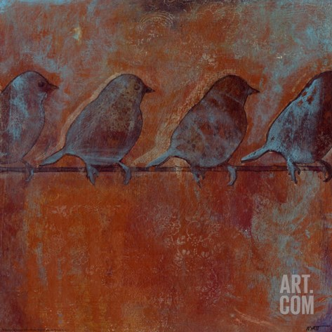 Row of Sparrows II Stretched Canvas Print