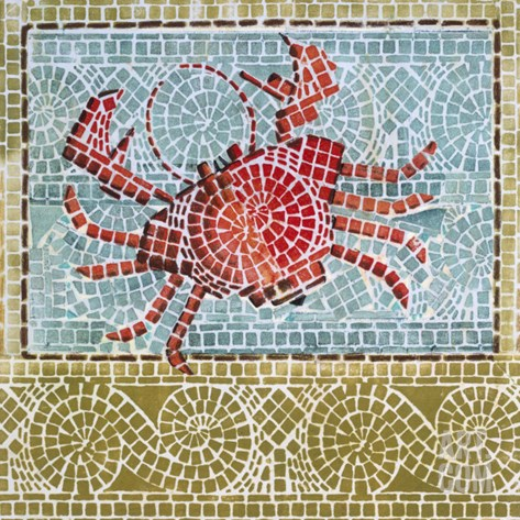 Mosaic Crab Stretched Canvas Print