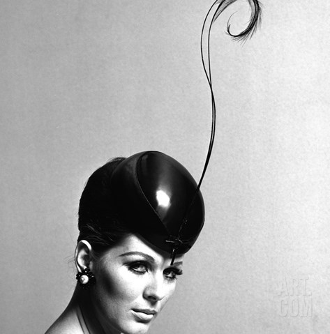 Pillbox Hat with Feather, 1960s Stretched Canvas Print