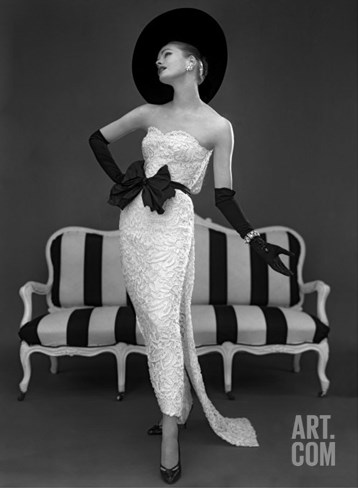 Model in John Cavanagh's Strapless Evening Gown, Spring 1957 Stretched Canvas Print