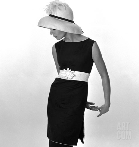 Black Sleeveless Dress with White Belt, 1960s Stretched Canvas Print