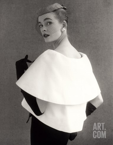 Susan Abraham in a John Cavanagh Tiered Evening Jacket, Dress and Hat, 1954 Stretched Canvas Print