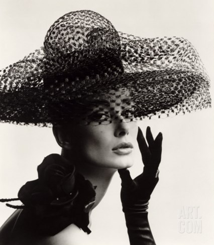 Tania Mallet in a Madame Paulette Stiffened Net Picture Hat, 1963 Stretched Canvas Print