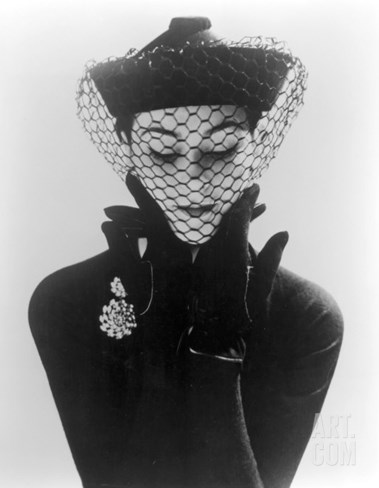 Anne Gunning in an Erik felt and Velvet Mandarin Hat with Veil, 1950 Stretched Canvas Print
