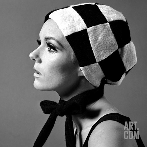 Black and White Checked Bonnet, 1960s Stretched Canvas Print