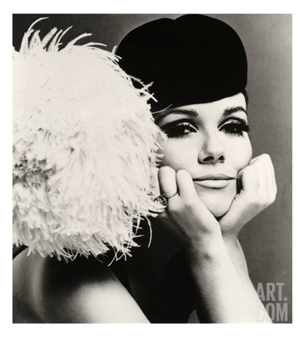 Nicole de la Marge in a Peter Shepherd Velvet Cap, 1965 Stretched Canvas Print