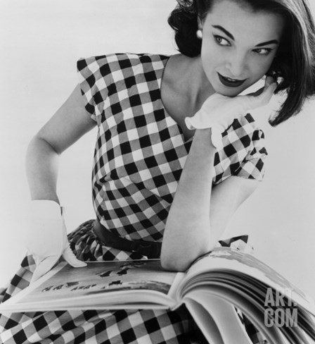 Helen Bunney in a Dress by Blanes, 1957 Stretched Canvas Print