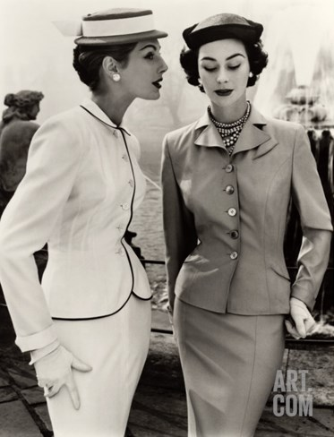 Fiona Campbell-Walter and Anne Gunning in Tailored Suits, 1953 Stretched Canvas Print