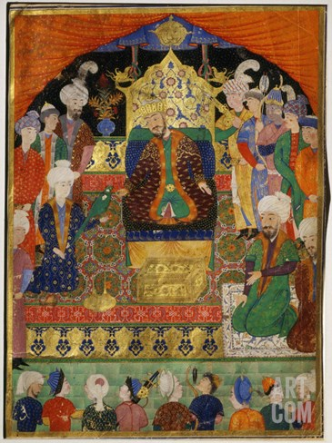 Court Scene from Shahnama, 14th century Iran Timurid Period Stretched Canvas Print